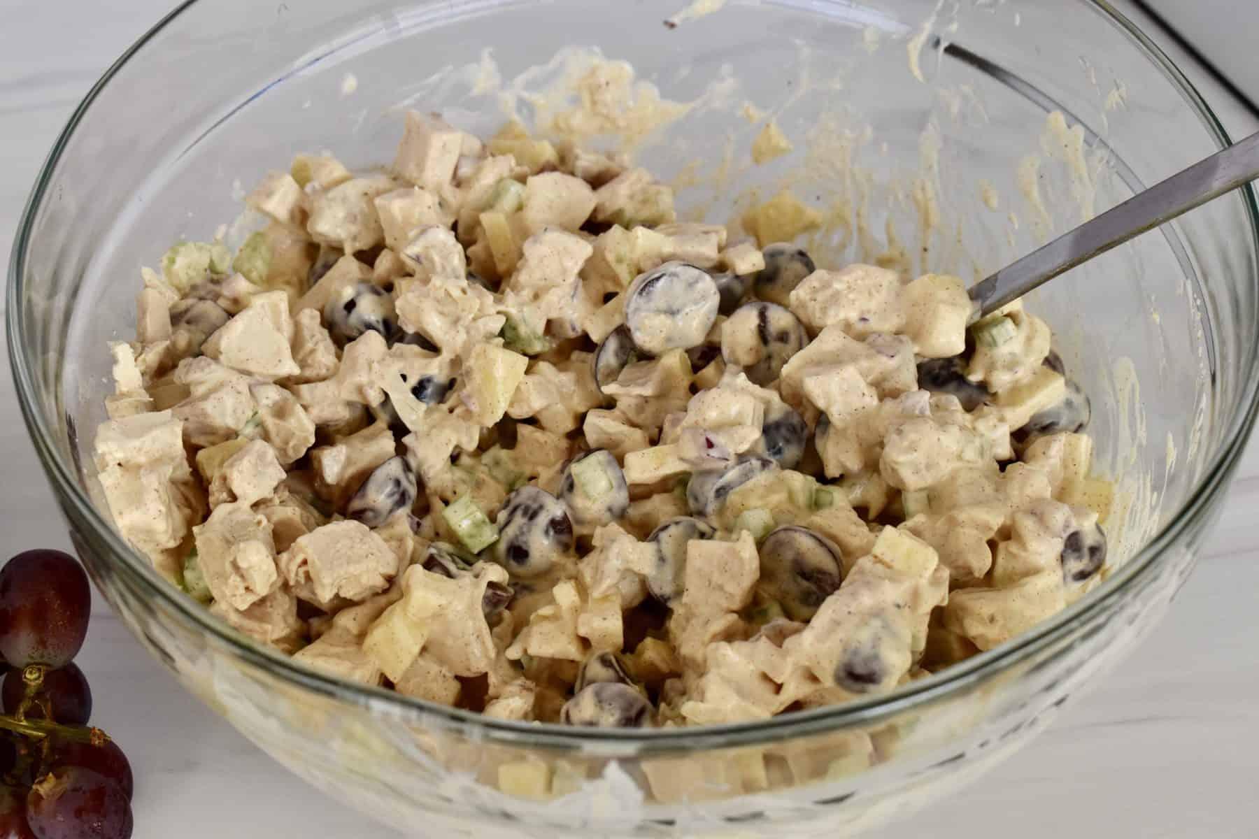 rotisserie chicken salad in a glass bowl.