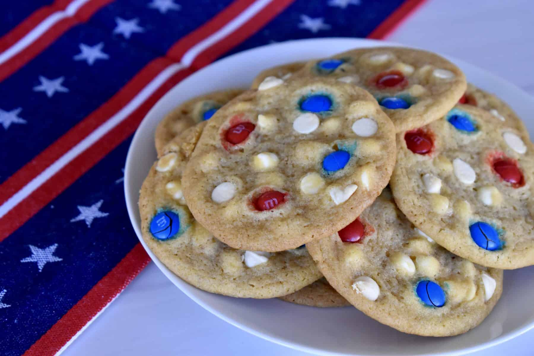 4th of July Cookies on a white plate.
