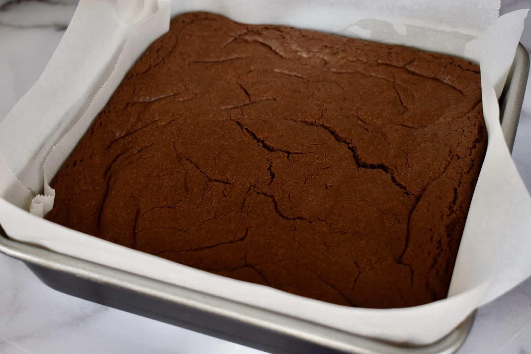 Cake Mix Brownies in a line baking pan.