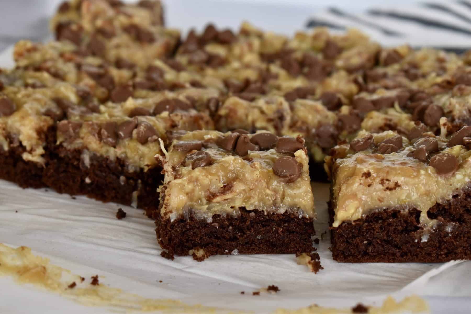 German Chocolate Brownies on parchment paper.