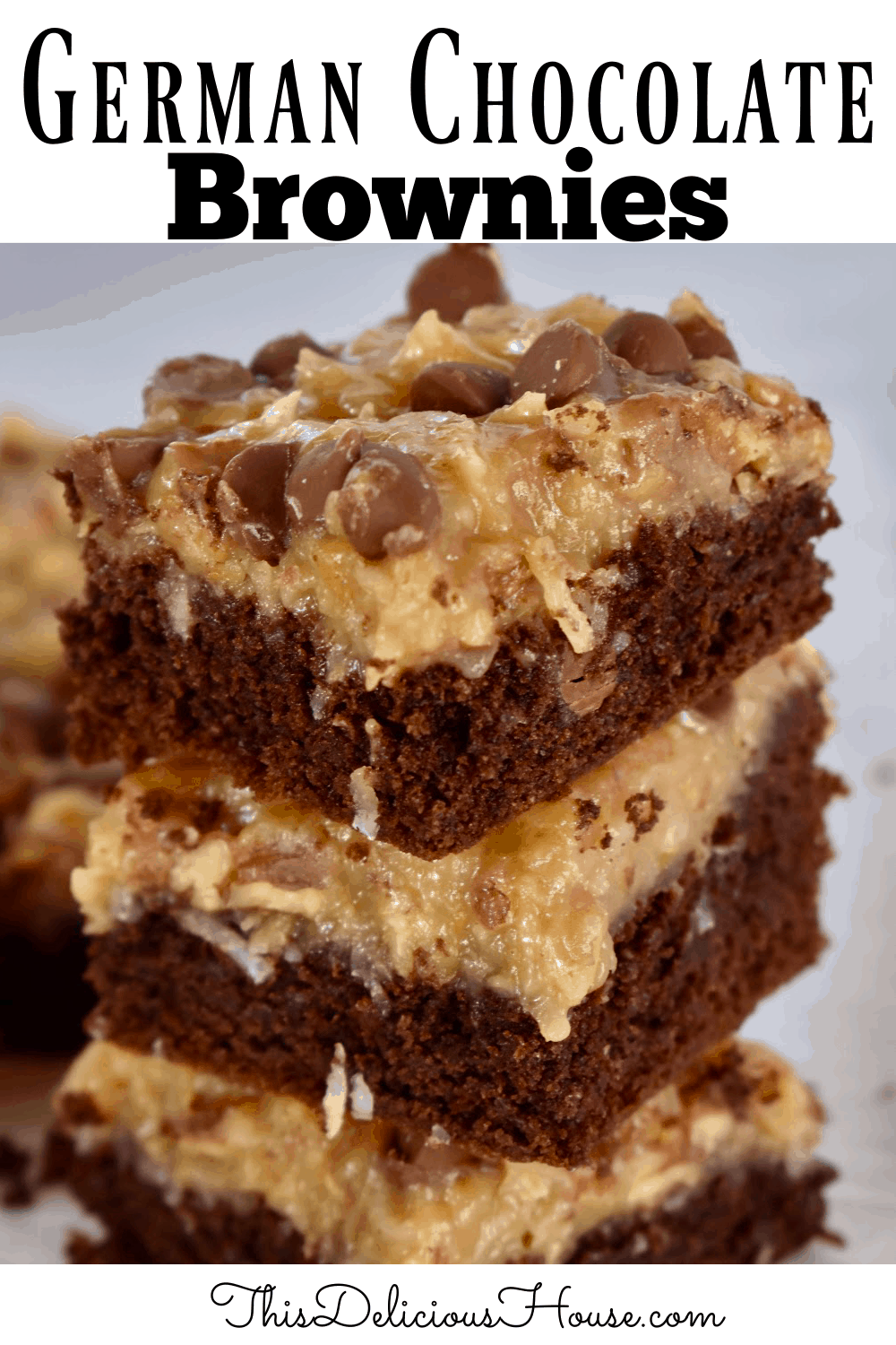 German Chocolate Brownies stacked on each other.