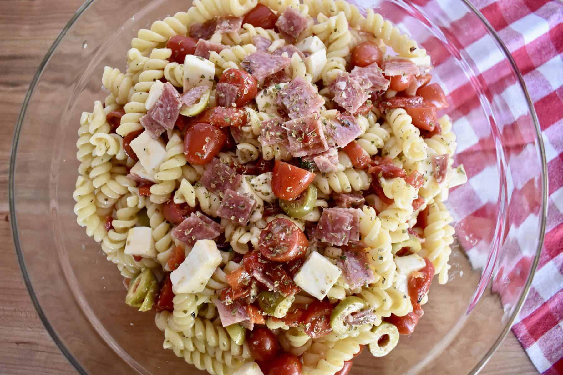 Overhead view of Italian Pasta Salad.