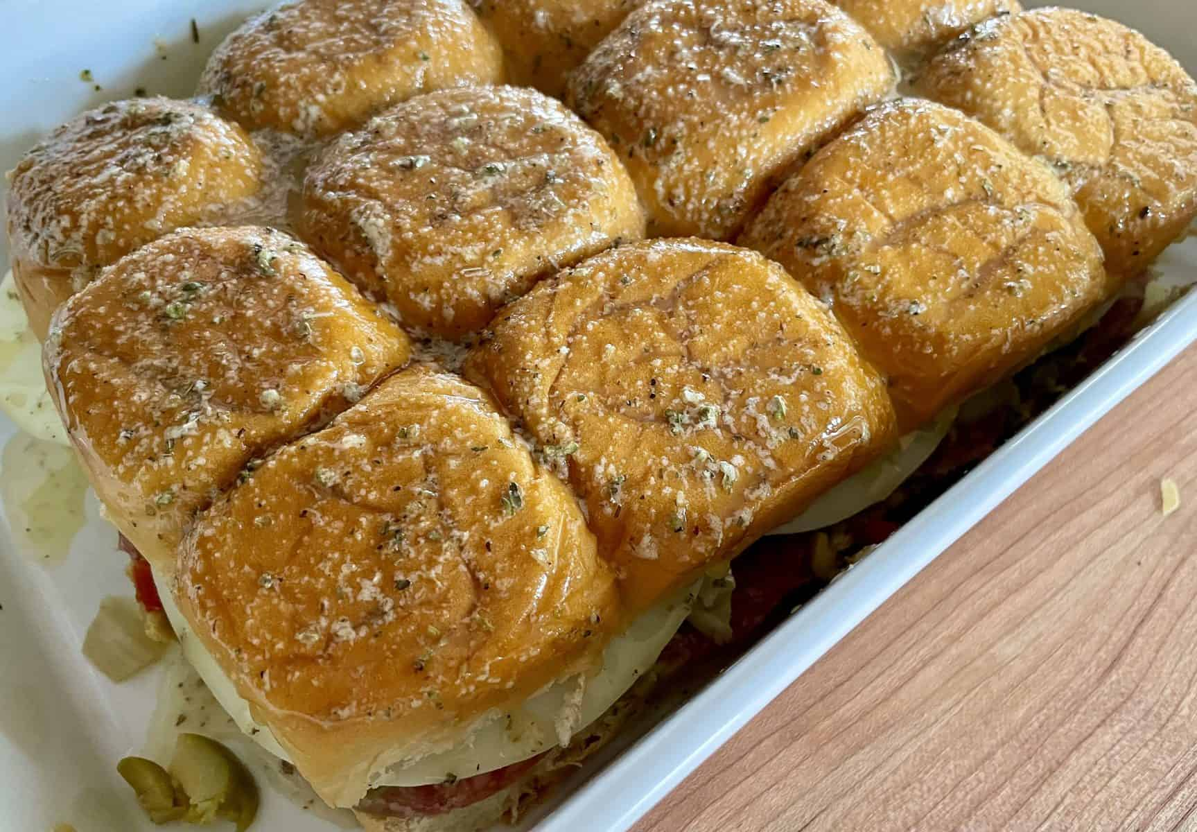 slide view of sandwiches brushed with a seasoned butter topping.