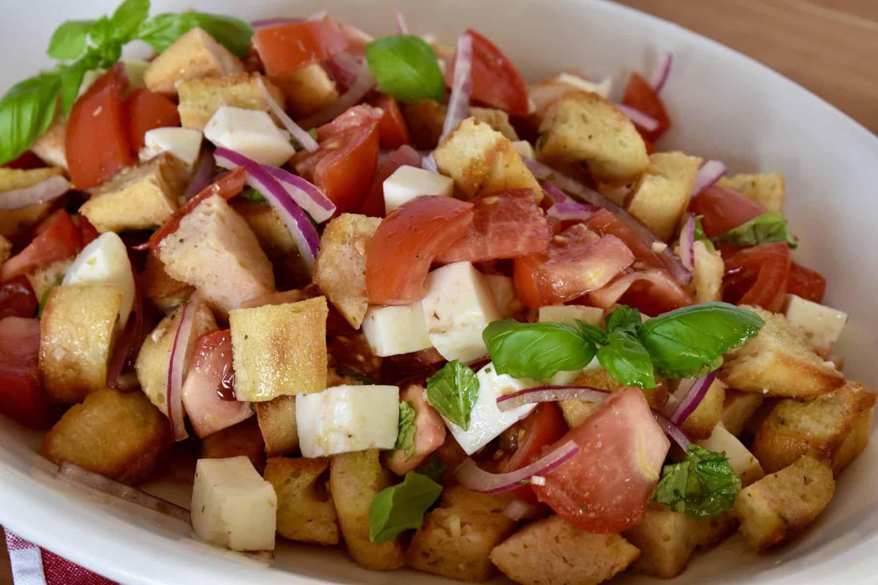 Bruschetta Salad in a large oval platter.