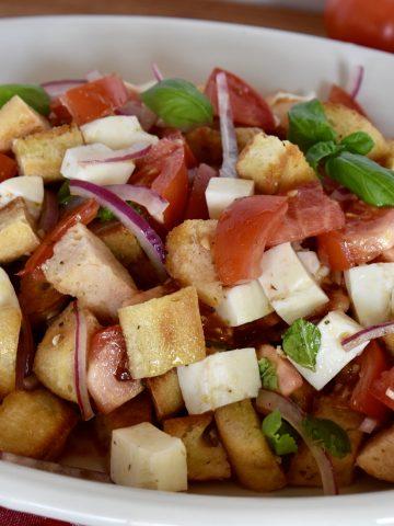 Bruschetta Salad in a large white platter.