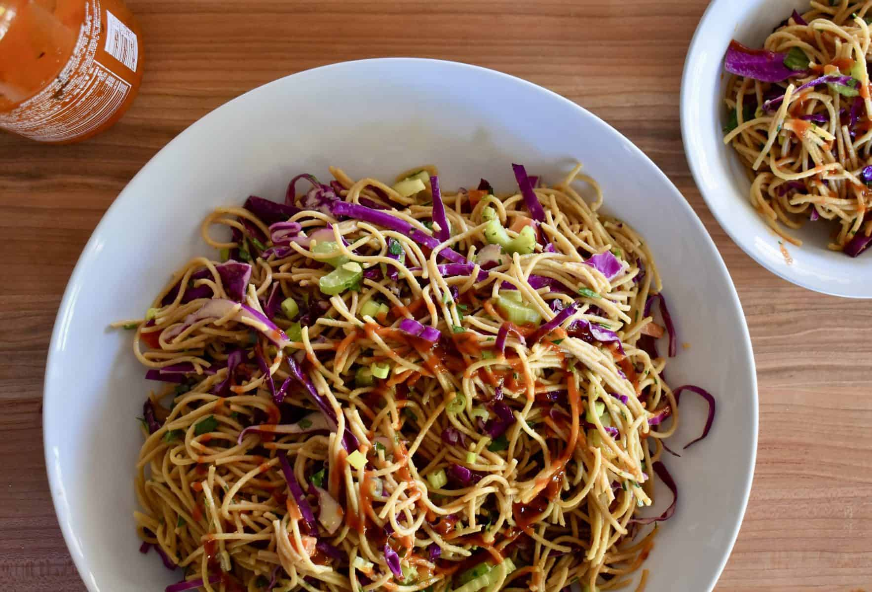 Overhead photo of Asian Noodle Salad.